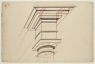 Cubismo - Diagram, Showing Entablature of Column Worked Out in Perspective circa 1810-27 by Joseph Mallord William Turner 1775-1851