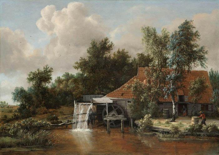 Meindert HOBBEMA (1638-1709) Um Moinho de água, ca. 1664. Óleo sobre painel, 60.5x85. Rijksmuseum, Amsterdam, Holanda.
