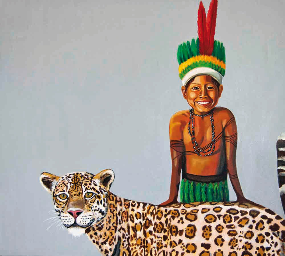 Fernanda Eva - menino indio e seu animal de estimaçao 90x100 cm
