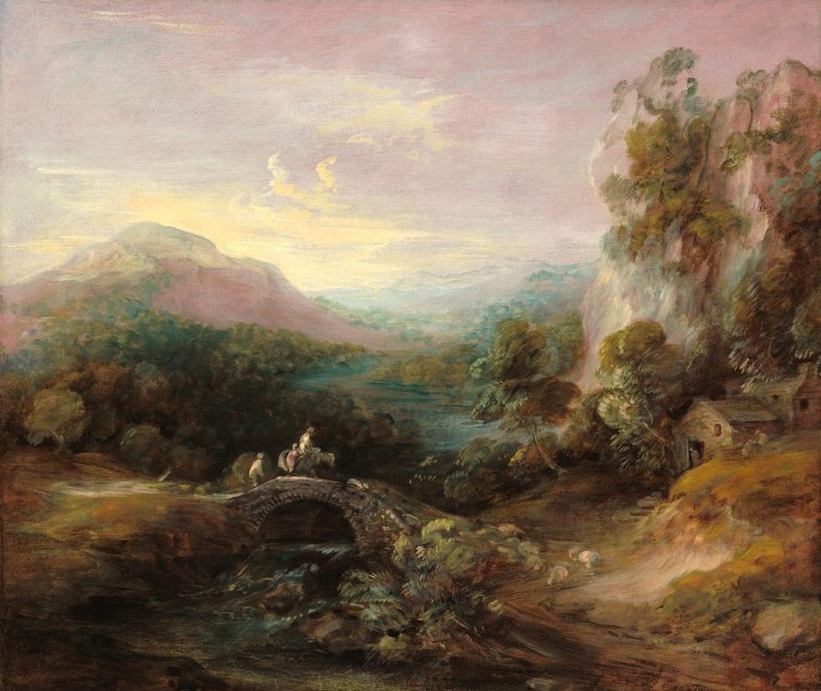 Thomas GAINSBOROUGH (1727-1788) Paisagem com Montanha e Ponte. ca. 1783/84. Óleo sobre tela, 113x133.4. National Gallery of Art, Washington, EUA. Disponível em: https://www.nga.gov/collection/art-object-page.114.html Acesso em: 14 mar. 2020.