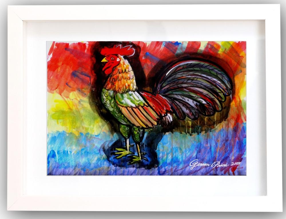 Galo da madrugada- 48x66 cm tinta sintetica sobre cartão (1)