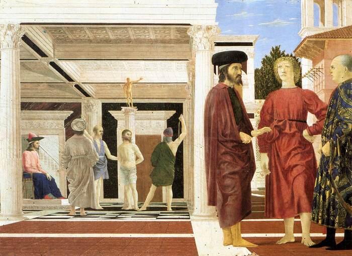 Piero della Francesca, A Flagelação, 1460, Óleo e Têmpera sobre painel, 58,4x81,5cm, Galleria Nazionale delle Marche - Urbino, Itália
