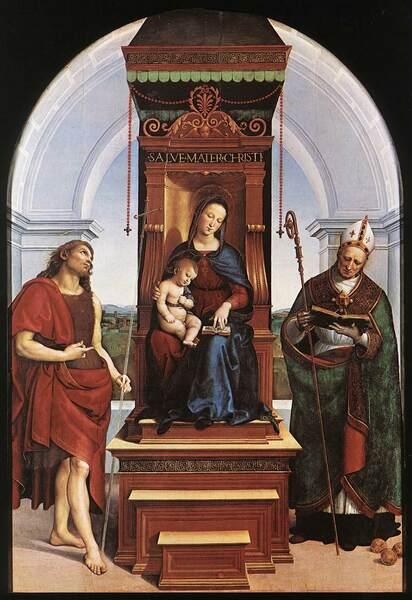Raffaello Sanzio, A Madona Ansidei, 1505, Óleo sobre madeira, 209,6 x 148,6 cm National Gallery, Londres.