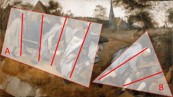 """""""O cego guiando o cego"""". Pieter Bruegel , 1568, Òleo e tempera sobre tela, 86 x 154cm, Museo e Real Bosco di Capodimonte"""