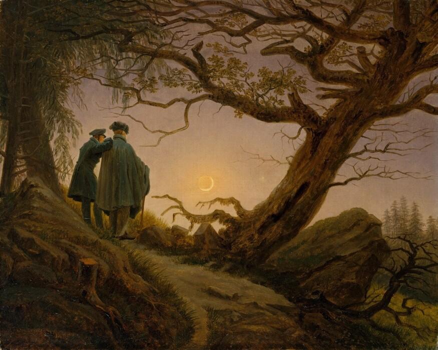 Caspar David FRIEDRICH (1774-1840) Dois Homens contemplando a lua, ca. 1825–30. Óleo sobre tela, 34.9 x 43.8. Metropolitan Museum of Art, Nova York, EUA.