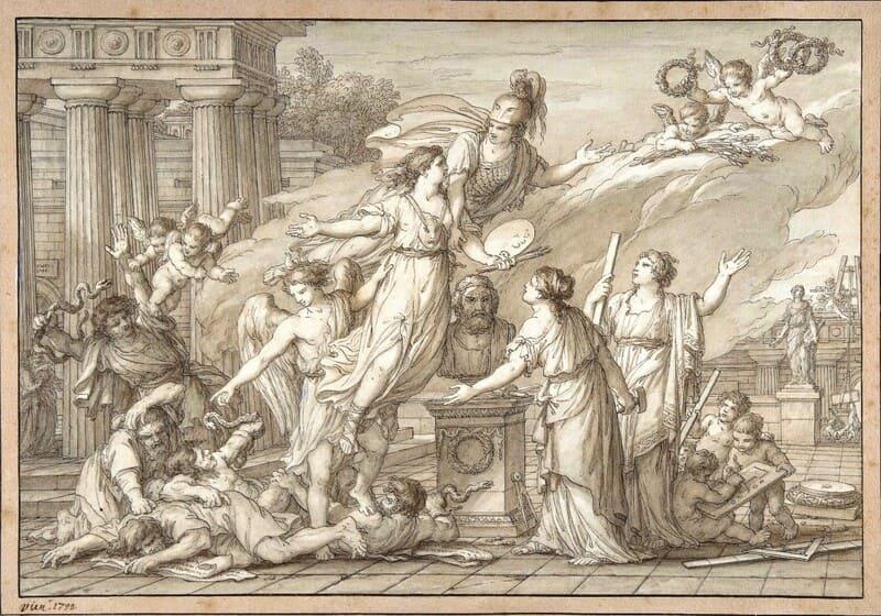 Joseph-Marie VIEN (1716-1809) Alegoria das Artes, 1796. Caneta e tinta preta, pincel e aquarela marrom, e desenho sobre papel, 24.4x35.8.  The Metropolitan Museum of Art, Nova York, EUA.