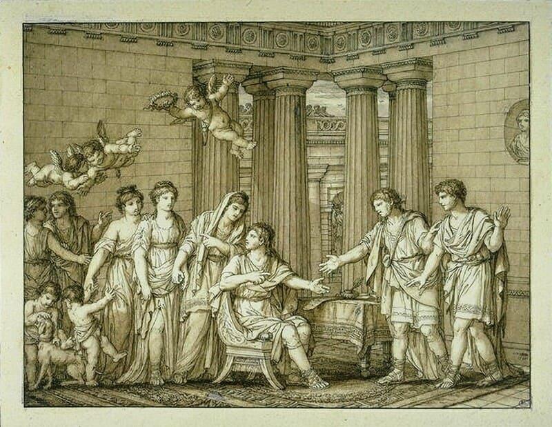 O Contrato, conhecido também como Assinatura do contrato de casamento II, 1798. Caneta e tinta marrom, pincel e aquarela marrom, e desenho sobre papel, 21,8x28,5. Musée du Louvre, Paris, França
