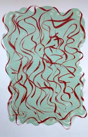 Marisa Carvalho - Círculo da dança II, 2021, acrílica sb papel, 70 x 50 cm