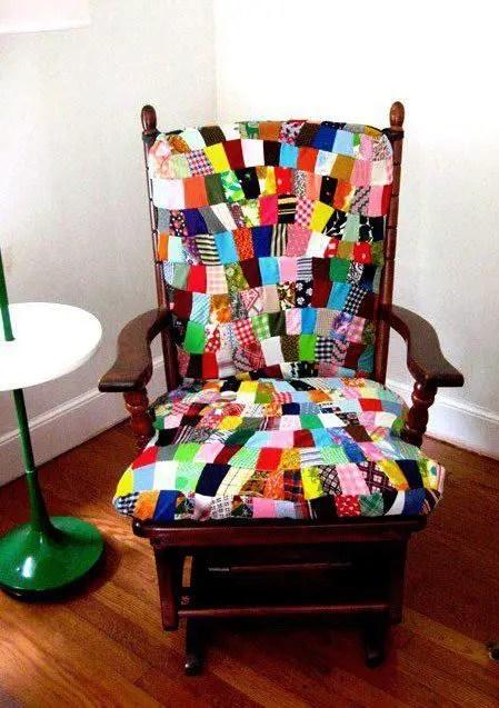 Cadeira Forrada Com Patchwork  Artesanato  Cultura Mix