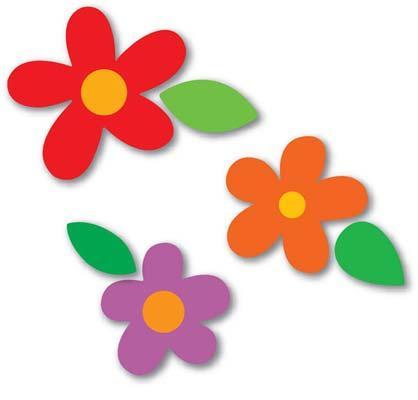 Flor com folhas molde eva