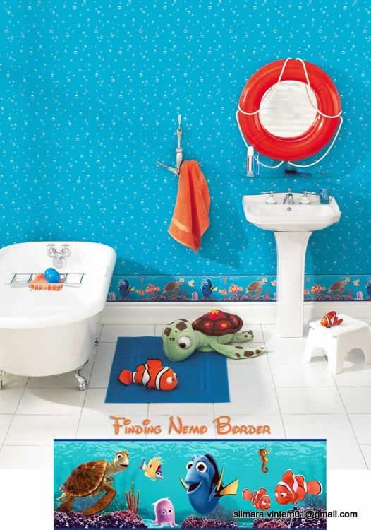 Quarto e banheiro decorado procurando nemo