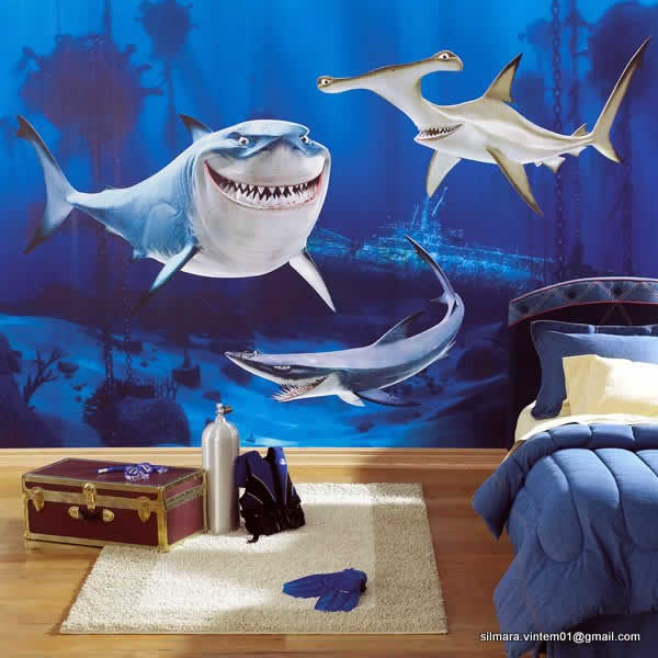 Quarto decorado tubarões do filme nemo