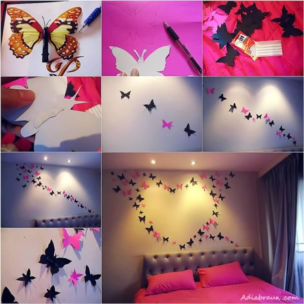 decoracao-de-parede-com-papel-borboletas