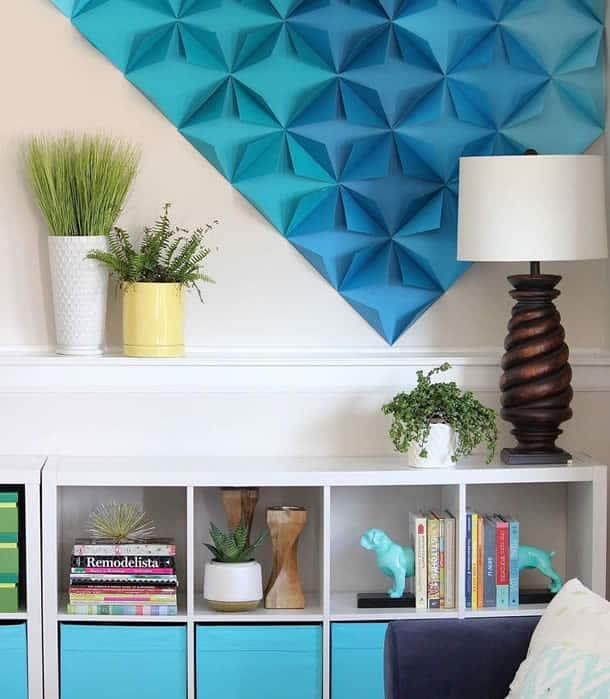 decoracao-de-parede-com-papel-dobraduras