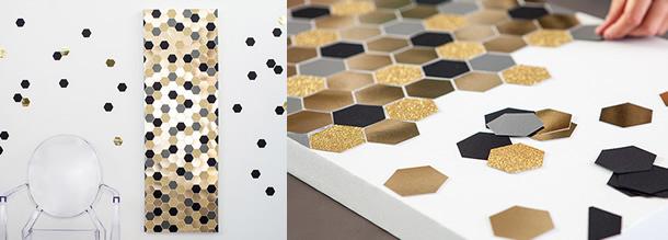 decoracao-de-parede-com-papel-dourado