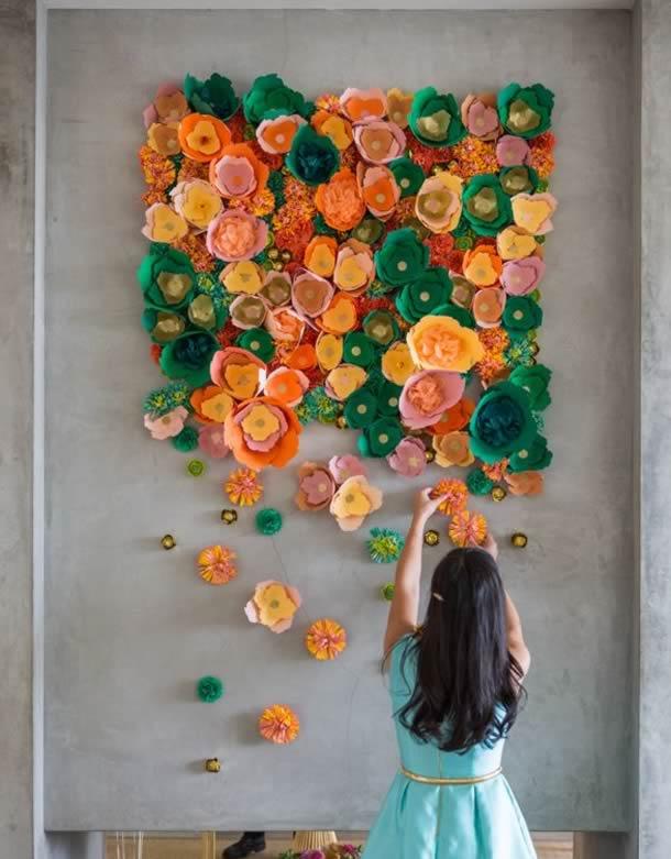 decoracao-de-parede-com-papel-flores