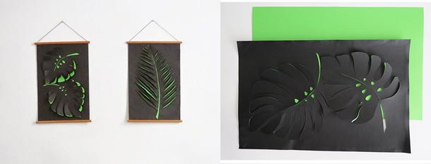 decoracao-de-parede-com-papel-folhas