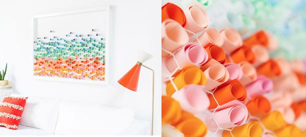 decoracao-de-parede-com-papel-rolinhos