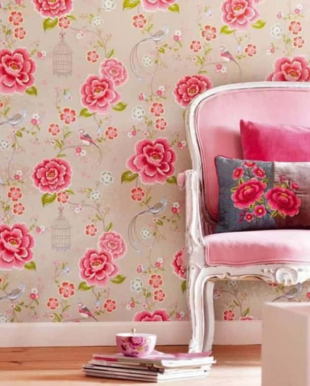 decoracao-de-parede-com-papel-romantico