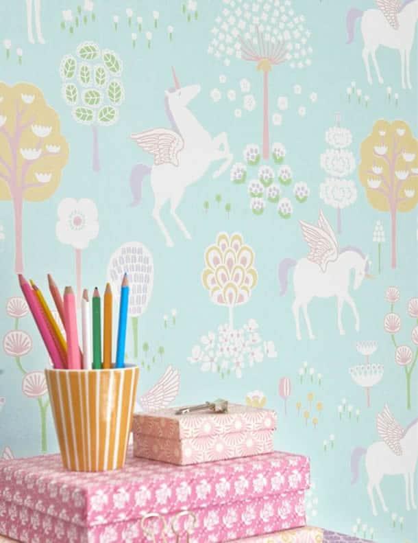 decoracao-de-parede-com-papel-unicornios