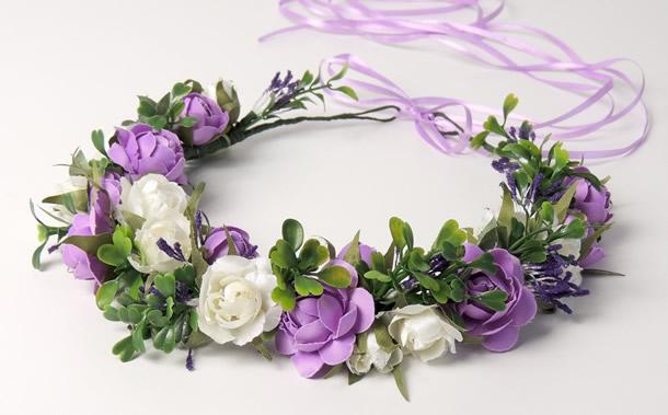 como-fazer-tiara-de-flores-violeta