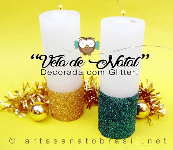Vela de Natal Decorada com Glitter Passo a Passo