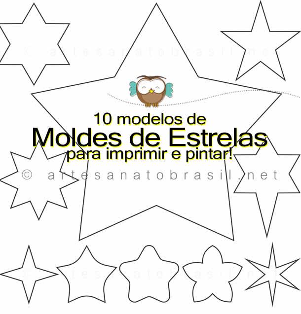10 modelos de Molde de Estrela para imprimir e pintar!