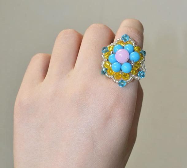 anel-bijuteria-flor-contas