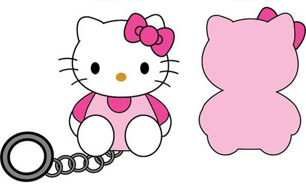 Moldes para chaveiro da Hello Kitty