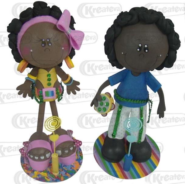 2 bonecos de EVA em 3D - Tema de Carnaval