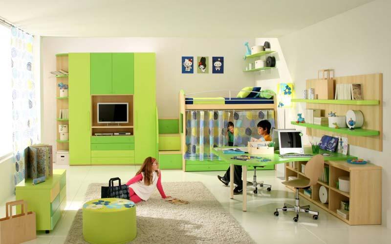 Modelos quartos para menina e menino, cor verde.