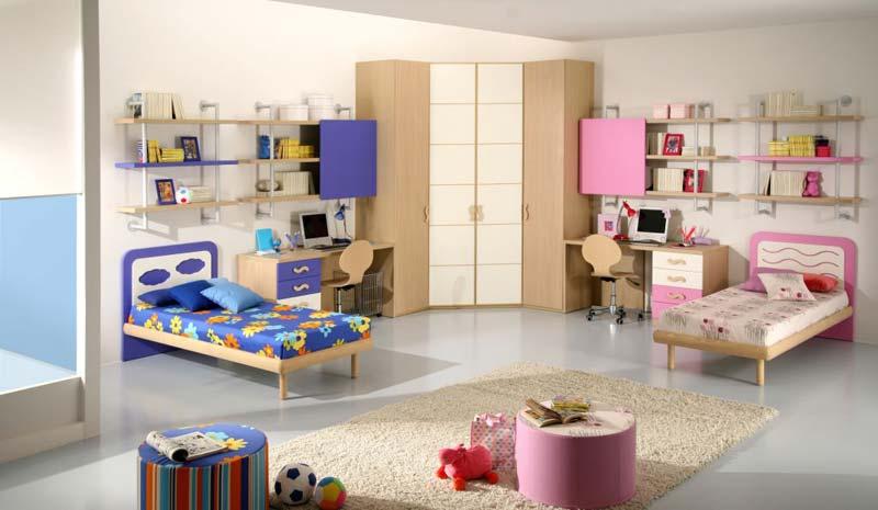 Modelo de quarto decorado completo para meninos e menina