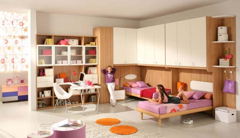 Modelo de quarto completo para 2 meninas na cor rosa