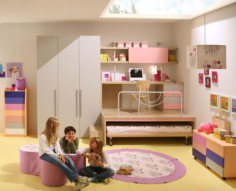 Modelo de quarto completo para meninas com cama embutida e mesa de estudos