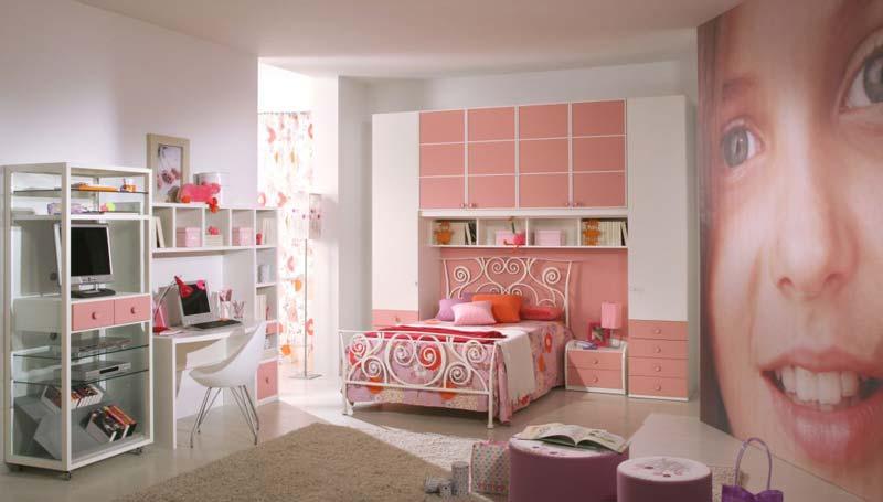 Modelos de quartos rosa decorado para meninas