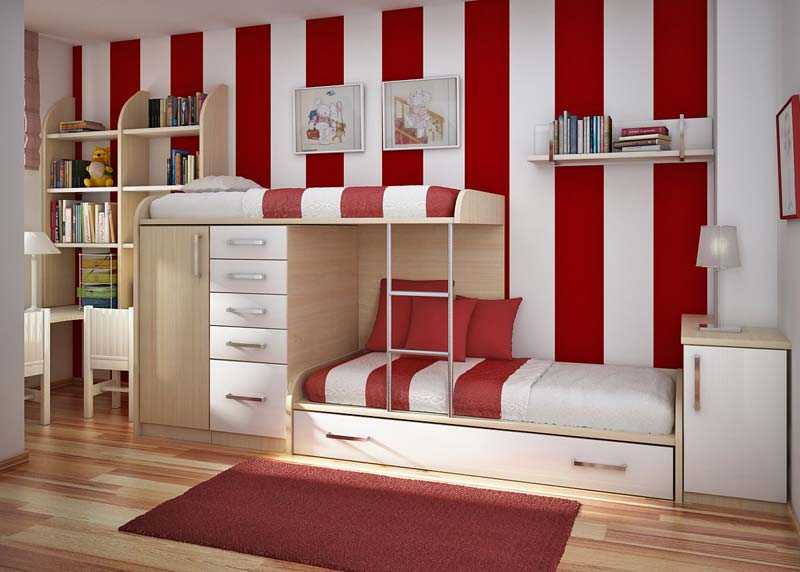 Quarto decorado, vermelho e branco