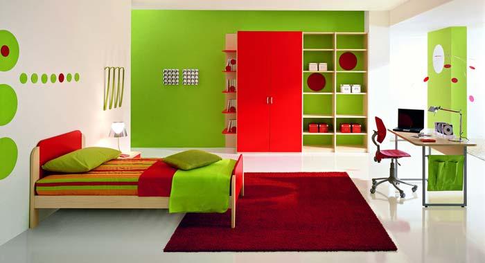 Quarto decorado, cor Verde.
