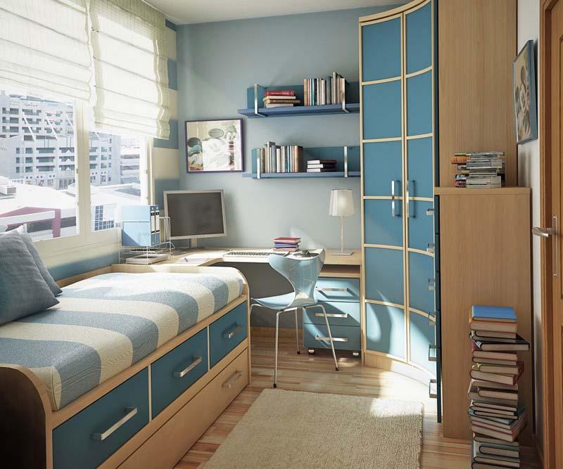 Quarto decorado minimalista azul claro