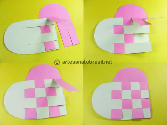 Passo2. cartão coracao com papel reciclado passo a passo