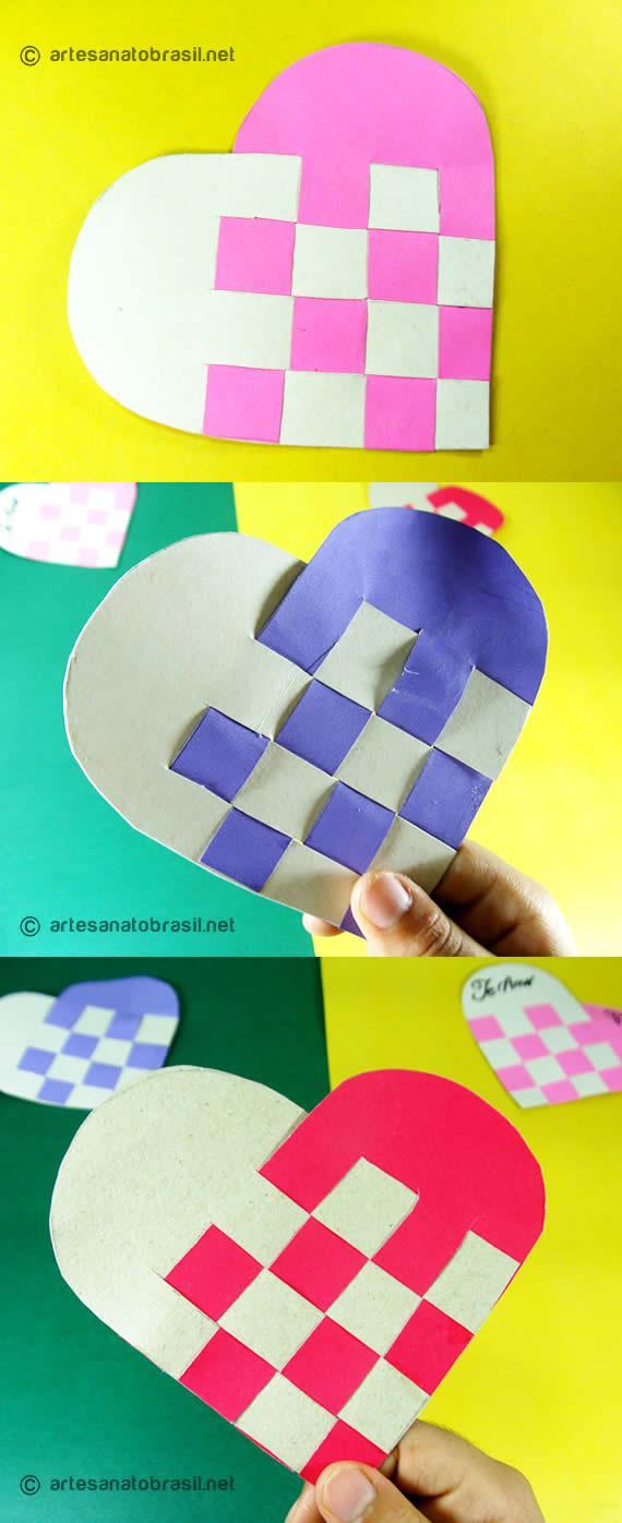 Tipos de cartão de coracao reciclado