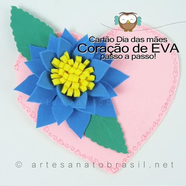 Cartão Coração de EVA p Dia das Mães