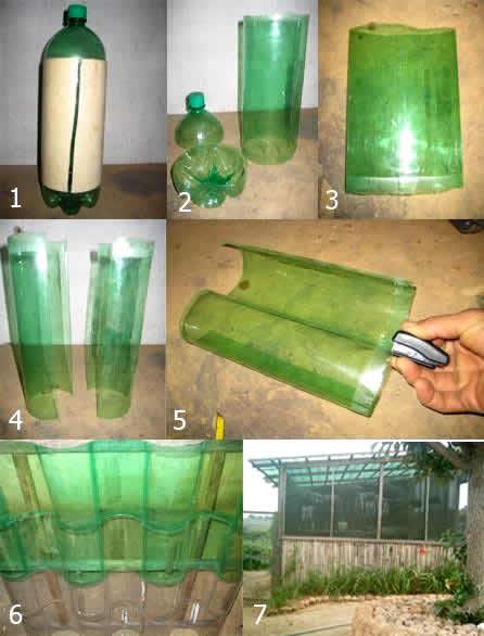 Telhado com garrafa pet