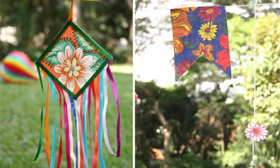 Bandeirinas de Patckwork com fitas - Decoração de festa junina