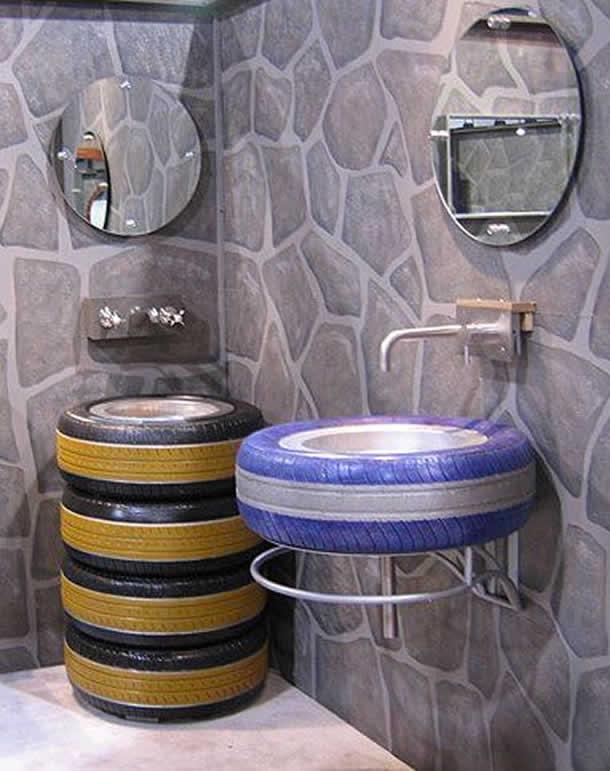 Pia de banheiro com pneus (Artesanato com Reciclagem)