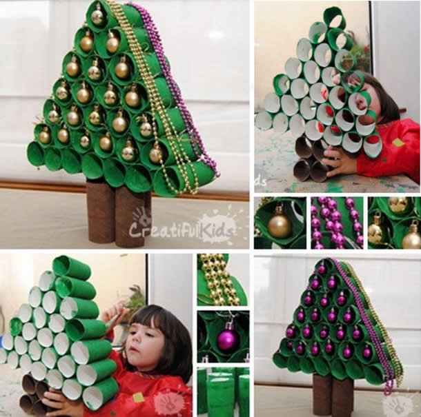Árvore de natal de rolos de papel