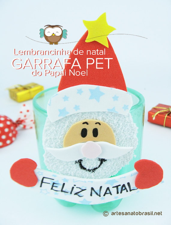 Lembrancinha de natal GARRAFA PET do Papai Noel