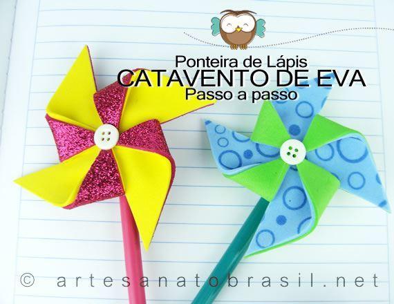 Lembrancinha Ponteira de lápis: Catavento de EVA