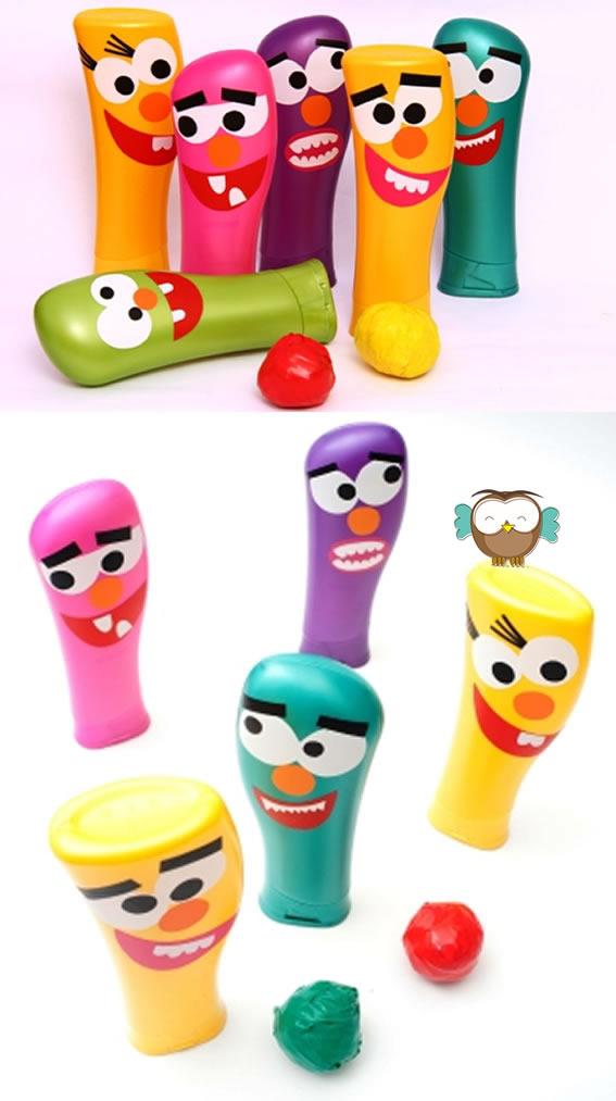 Brinquedo reciclado com embalagem de shampoo