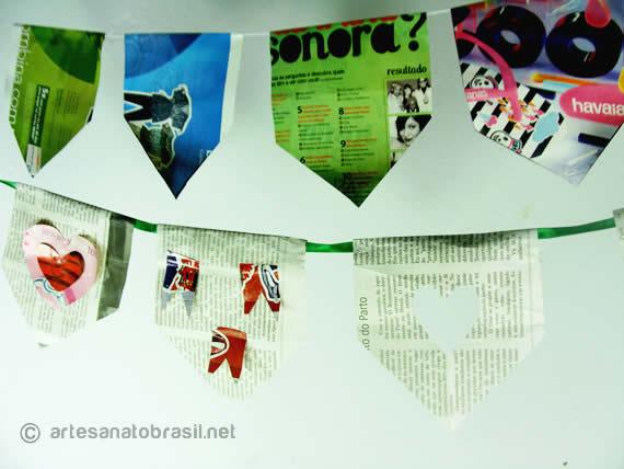 Como fazer bandeirinhas de jornal e revista para Festa Junina