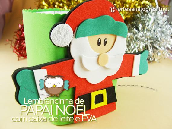 Lembrancinha Papai Noel com caixa de leite e EVA